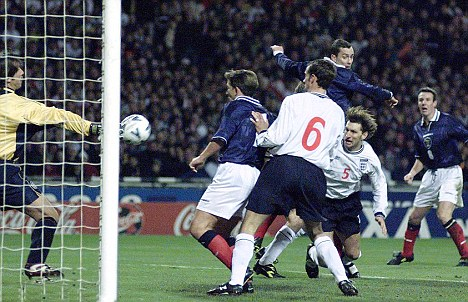 Don Hutchison scores versus England in the last  derby.